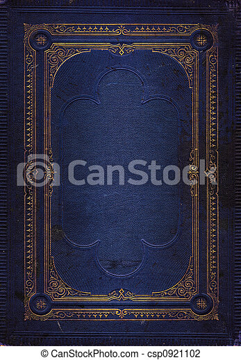 Old blue leather texture with gold decorative frame - csp0921102