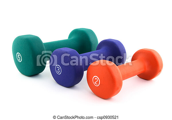 Three colorful dumbbells of different size - csp0930521