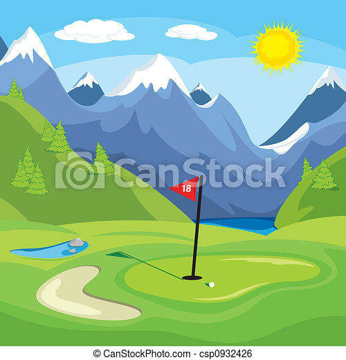 Golfing in the mountains - csp0932426