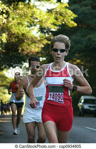 Female athlete racing. - csp0934805