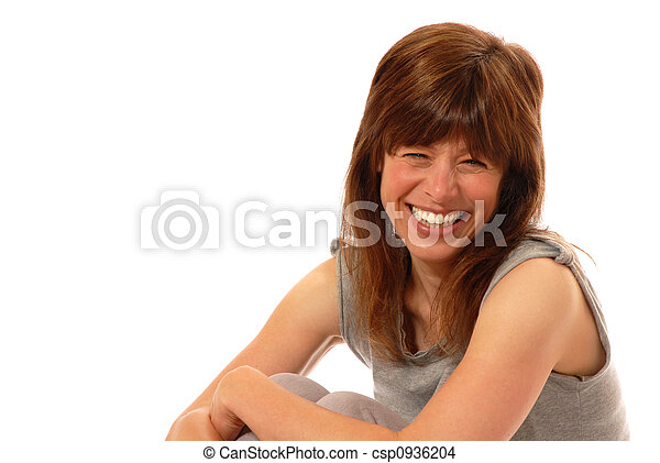 young lady giggling - csp0936204