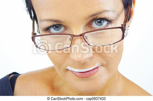 femme, à, moustache - csp0937433