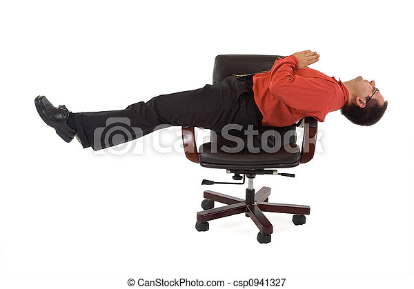 Office relaxation yoga position - csp0941327