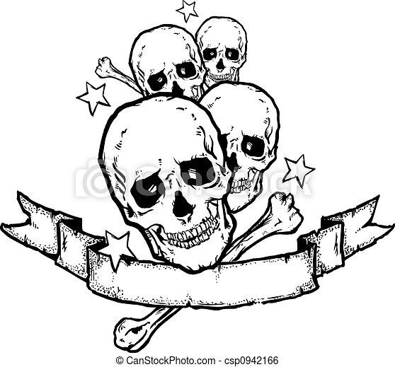 Heavy Metal  Rock Banner Tattoo  - csp0942166