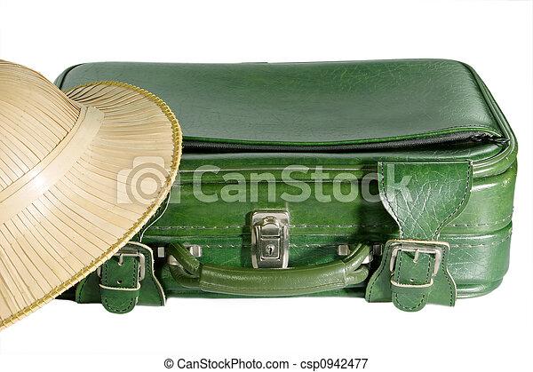Suitcase and Safari Hat