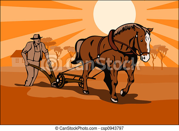 Farmer plowing  - csp0943797