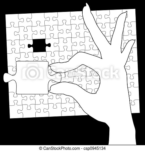 Hand Holds Jigsaw Puzzle Last Piece - csp0945134