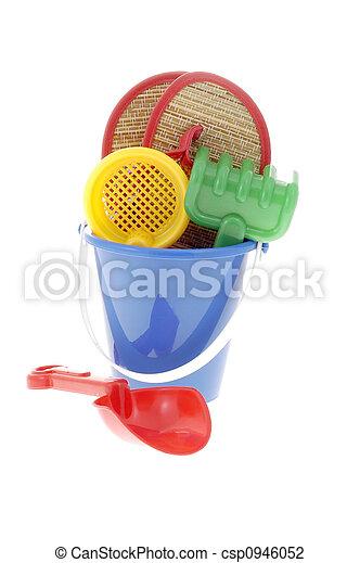 Spaß, sandstrand, Spielzeuge - csp0946052
