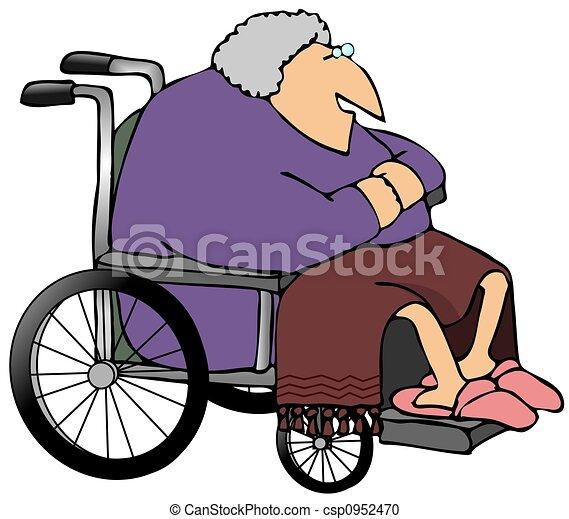 illustration de fauteuil roulant femme vieux ceci