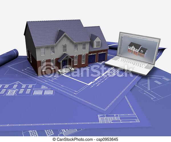 archivio illustrazioni di casa cianografie 3d render