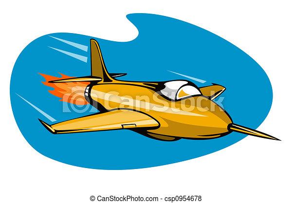 Retro style rocket ship - csp0954678