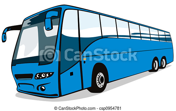 Clipart of Blue coach bus - Artwork on land transport ...