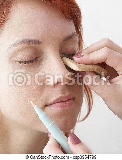 beautician doing make-up - csp0954799