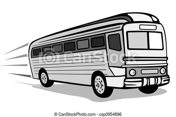 Retro Style Coach Bus Clip Art Instant Download Csp954896