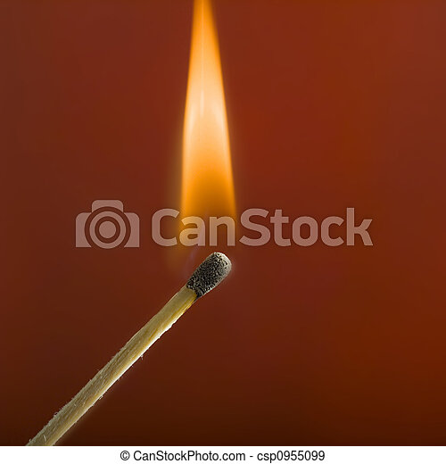 close up of match and flame - csp0955099
