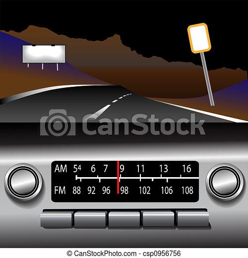 ashboard Radio AM FM Highway Drive Background - csp0956756