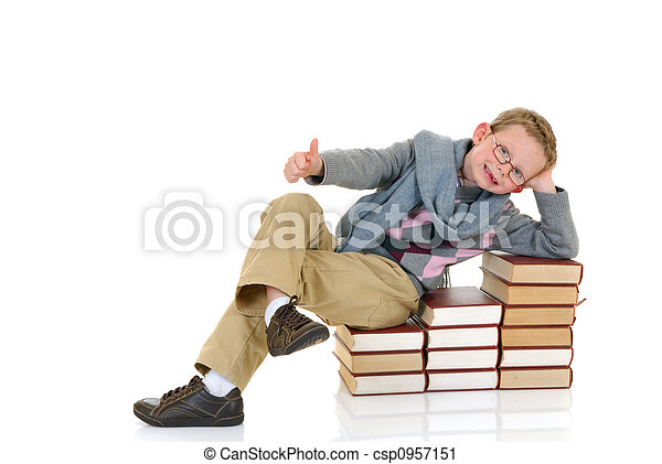 Young boy with encyclopedia - csp0957151