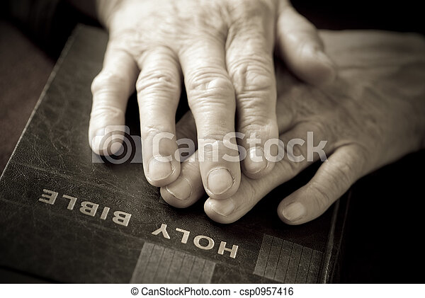 hands on the  bible - csp0957416