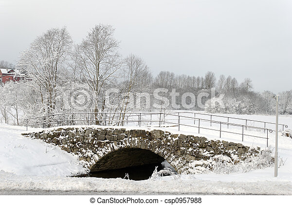 Stone Bridge under Snow - csp0957988