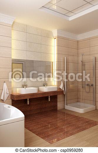 Stock illustratie van badkamer interieur 3d vertolking for Badkamer plannen in 3d