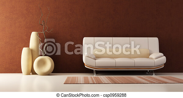 lounge room with couch and vases - csp0959288