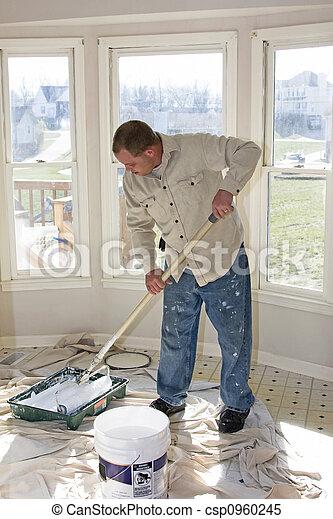 Painter Rolling walls - csp0960245