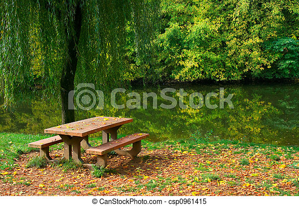 Picnic table, grass and trees by the river
