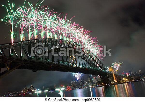 Sydney Harbour Bridge New Year - csp0962629