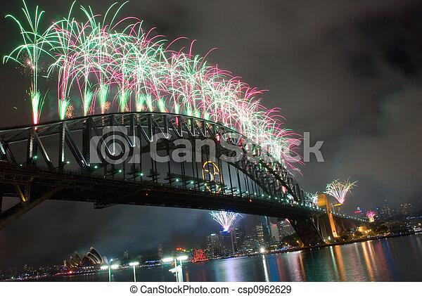 Sydney Harbour Bridge New Year - csp0962629