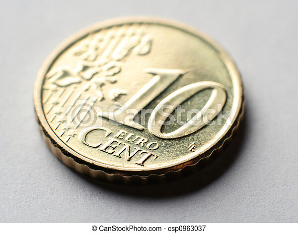 macro, moeda,  10, centavo,  Euro - csp0963037