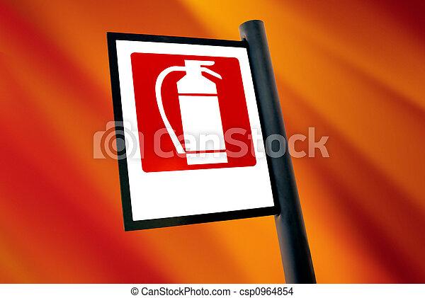 火, 消火器, 印,  (1) - csp0964854