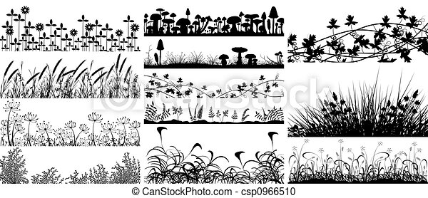Illustration de v g tation ensemble de premiers plans de v g tation csp0966510 - Dessin vegetation ...