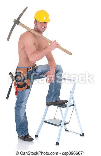 Macho construction worker - csp0966671