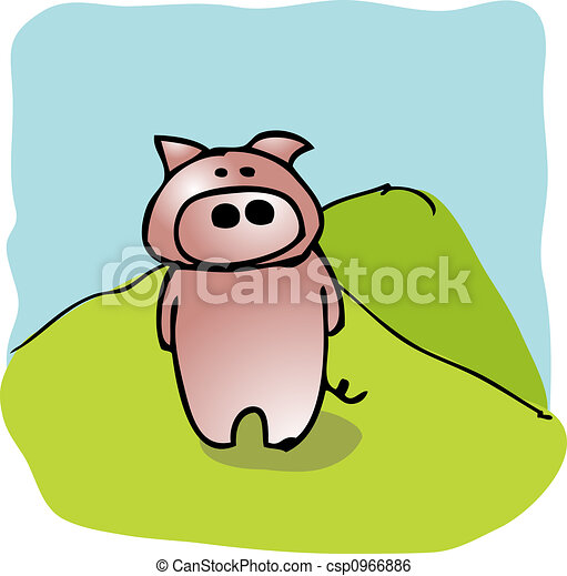 Illustration dessin anim cochon banque d - Dessin cochon debout ...