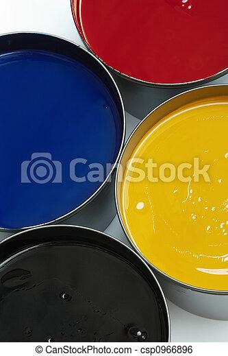 Tubs of printing inks - csp0966896