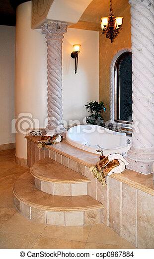 stock foto von luxus, bad - schöne, luxus, bad, mit, versunken, Hause ideen