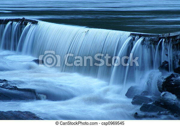 A Waterfall at Dusk - csp0969545