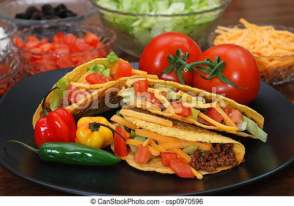 Tacos with Ingredients - csp0970596