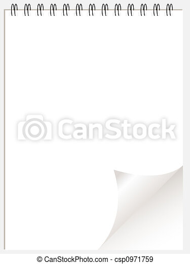 White ring binder notepad wtih page curl - csp0971759
