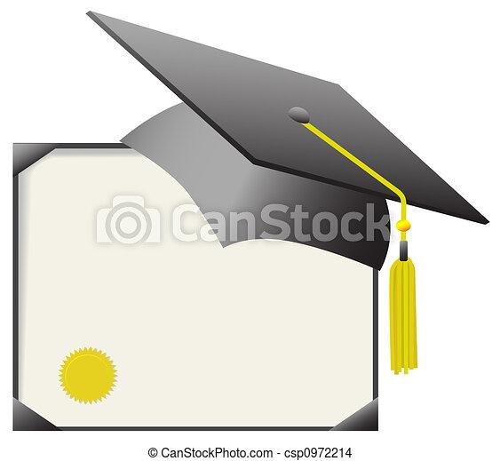 birrete, graduación, gorra, y, Diploma, certificado - csp0972214