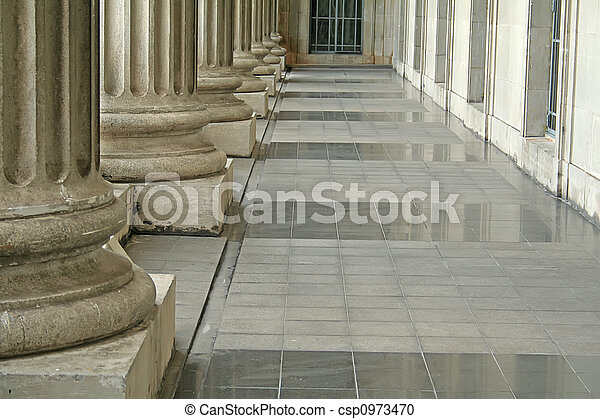 Law and Order Pillars Outside Court - csp0973470