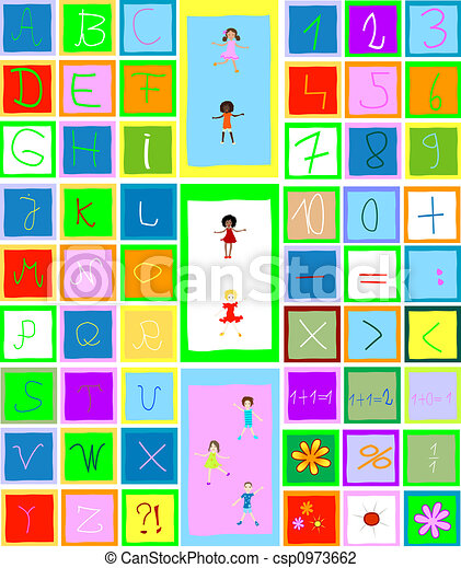 alphabet, numbers and children playing - csp0973662