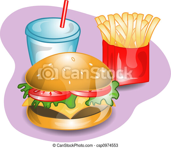 Complete cheeseburger lunch. - csp0974553