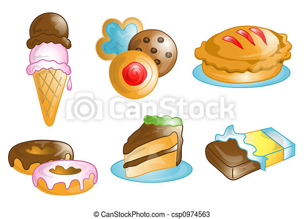 Dessert food icons or symbols - csp0974563