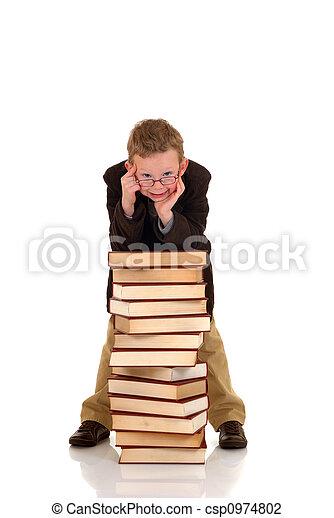 Young boy with encyclopedia - csp0974802