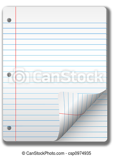 Wide Ruled Notebook Paper Pages & Page Curl Background - csp0974935