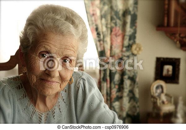Elderly Woman With Bright Eyes - csp0976906