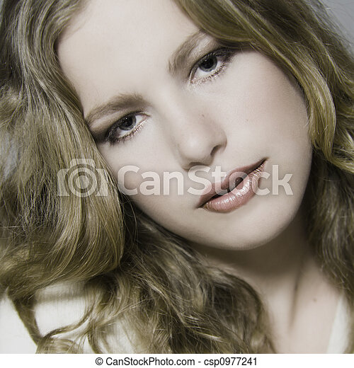 stock photography models. Stock Photo - Blond model with curly hair