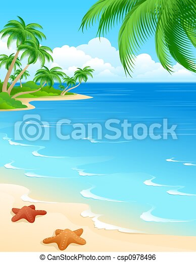 Clip Art Beach Scene Clipart beach illustrations and clipart 112062 royalty free scene background with starfish palms