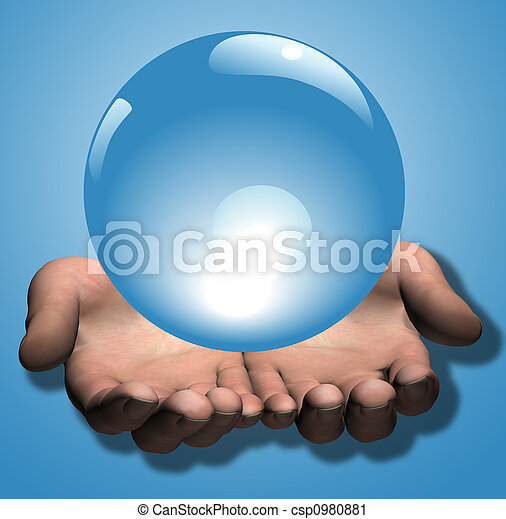 Shiny Blue Crystal Ball in 3D Hands Illustration - csp0980881